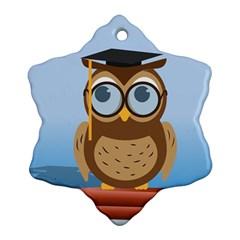 Read Owl Book Owl Glasses Read Ornament (Snowflake)