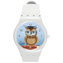 Read Owl Book Owl Glasses Read Round Plastic Sport Watch (M)