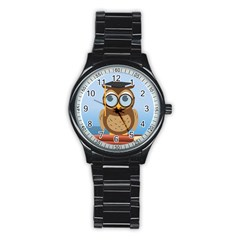 Read Owl Book Owl Glasses Read Stainless Steel Round Watch