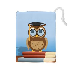 Read Owl Book Owl Glasses Read Drawstring Pouches (Large)