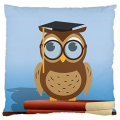 Read Owl Book Owl Glasses Read Large Flano Cushion Case (Two Sides)
