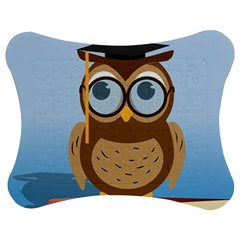 Read Owl Book Owl Glasses Read Jigsaw Puzzle Photo Stand (Bow)