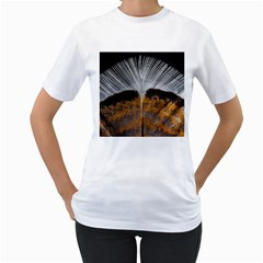 Spring Bird Feather Turkey Feather Women s T-Shirt (White) (Two Sided)