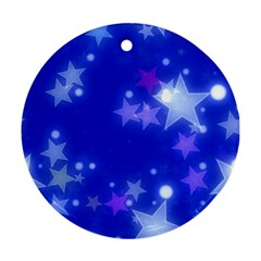 Star Bokeh Background Scrapbook Round Ornament (Two Sides)