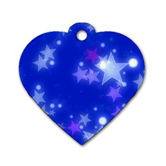 Star Bokeh Background Scrapbook Dog Tag Heart (One Side)