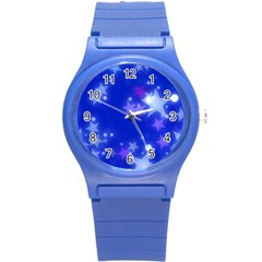 Star Bokeh Background Scrapbook Round Plastic Sport Watch (S)