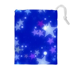Star Bokeh Background Scrapbook Drawstring Pouches (Extra Large)