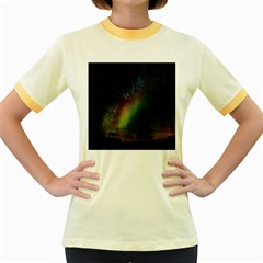 Starry Sky Galaxy Star Milky Way Women s Fitted Ringer T-Shirts