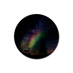 Starry Sky Galaxy Star Milky Way Rubber Round Coaster (4 pack)