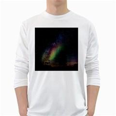 Starry Sky Galaxy Star Milky Way White Long Sleeve T-Shirts