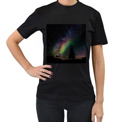 Starry Sky Galaxy Star Milky Way Women s T-Shirt (Black)