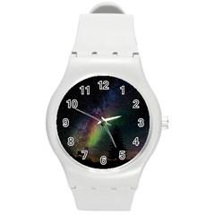Starry Sky Galaxy Star Milky Way Round Plastic Sport Watch (M)