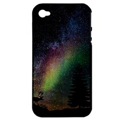 Starry Sky Galaxy Star Milky Way Apple iPhone 4/4S Hardshell Case (PC+Silicone)