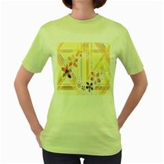 Swirl Flower Curlicue Greeting Card Women s Green T-Shirt