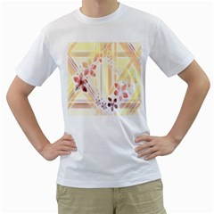 Swirl Flower Curlicue Greeting Card Men s T-Shirt (White) (Two Sided)