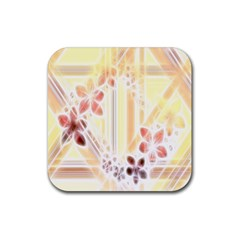 Swirl Flower Curlicue Greeting Card Rubber Coaster (Square)