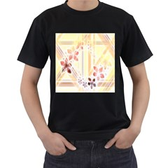 Swirl Flower Curlicue Greeting Card Men s T-Shirt (Black) (Two Sided)