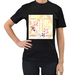 Swirl Flower Curlicue Greeting Card Women s T-Shirt (Black) (Two Sided)