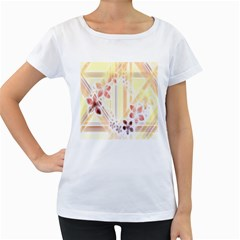 Swirl Flower Curlicue Greeting Card Women s Loose-Fit T-Shirt (White)