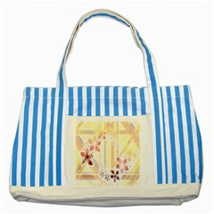 Swirl Flower Curlicue Greeting Card Striped Blue Tote Bag