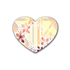 Swirl Flower Curlicue Greeting Card Rubber Coaster (Heart)