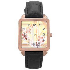 Swirl Flower Curlicue Greeting Card Rose Gold Leather Watch