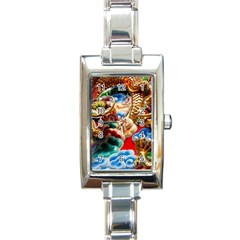 Thailand Bangkok Temple Roof Asia Rectangle Italian Charm Watch