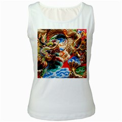 Thailand Bangkok Temple Roof Asia Women s White Tank Top