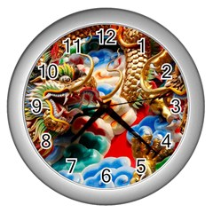Thailand Bangkok Temple Roof Asia Wall Clocks (Silver)