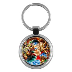 Thailand Bangkok Temple Roof Asia Key Chains (Round)