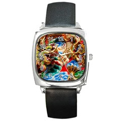 Thailand Bangkok Temple Roof Asia Square Metal Watch