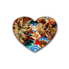Thailand Bangkok Temple Roof Asia Heart Coaster (4 pack)