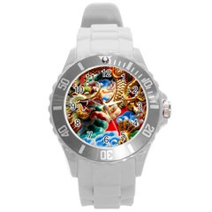 Thailand Bangkok Temple Roof Asia Round Plastic Sport Watch (L)