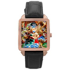 Thailand Bangkok Temple Roof Asia Rose Gold Leather Watch