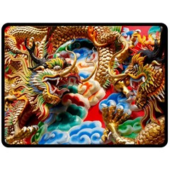 Thailand Bangkok Temple Roof Asia Double Sided Fleece Blanket (Large)