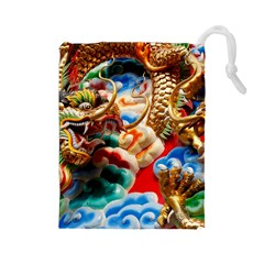 Thailand Bangkok Temple Roof Asia Drawstring Pouches (Large)