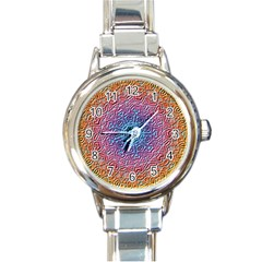 Tile Background Pattern Texture Round Italian Charm Watch