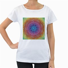 Tile Background Pattern Texture Women s Loose-Fit T-Shirt (White)