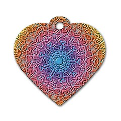 Tile Background Pattern Texture Dog Tag Heart (Two Sides)