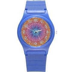 Tile Background Pattern Texture Round Plastic Sport Watch (S)