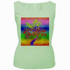 Tree Colorful Mystical Autumn Women s Green Tank Top