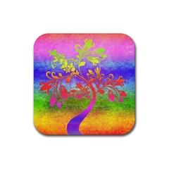 Tree Colorful Mystical Autumn Rubber Coaster (Square)