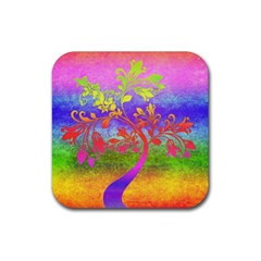 Tree Colorful Mystical Autumn Rubber Square Coaster (4 pack)