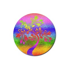 Tree Colorful Mystical Autumn Rubber Coaster (Round)