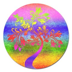 Tree Colorful Mystical Autumn Magnet 5  (Round)