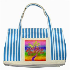Tree Colorful Mystical Autumn Striped Blue Tote Bag