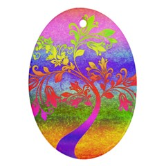Tree Colorful Mystical Autumn Oval Ornament (Two Sides)