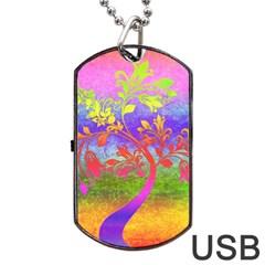 Tree Colorful Mystical Autumn Dog Tag USB Flash (One Side)