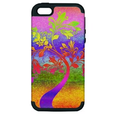 Tree Colorful Mystical Autumn Apple iPhone 5 Hardshell Case (PC+Silicone)