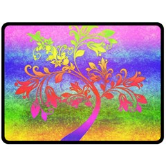 Tree Colorful Mystical Autumn Double Sided Fleece Blanket (Large)
